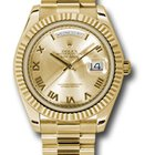 Rolex Day-Date II President Yellow Gold Fluted Bezel 218238 chrp