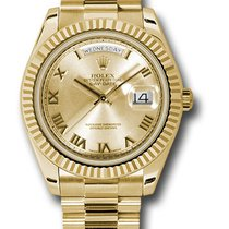 Rolex Day-Date II President Yellow Gold Fluted Bezel 218238 chrp