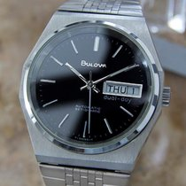 Bulova Automatic Set-o-matic Day Date Stainless Steel 1970s...