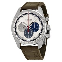 Zenith El Primero Chronograph Silver Dial Brown Leather...