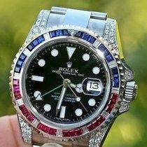 Rolex Mens Steel Gmt Ii Diamond Ruby 116710 W/ Bezel For 18k...