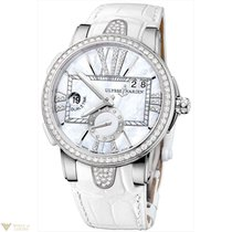 Ulysse Nardin Executive Dual Time Silver Dial Diamonds Bezel...