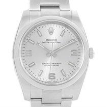 Rolex Air King Silver Arabic Dial Oyster Bracelet Watch 114200...
