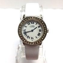 Cartier Argent Ladies Watch W/ Diamonds ~1ct Tcw New White Band