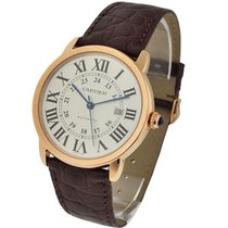 Cartier W6701009 Ronde Solo XL in Rose Gold - on Brown Leather...