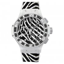 Hublot [NEW] Big Bang Zebra Diamond White Gold Chronograph Ladies