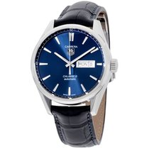 TAG Heuer Carrera Blue Dial Leather Strap Men's Watch...
