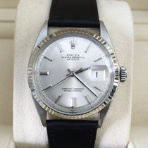 Rolex Oyster Datejust Steel White Gold Bezel Silver Dial 36 mm