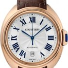 Cartier Cle Automatic Silver Flinque Dial 18K Solid Rose Gold