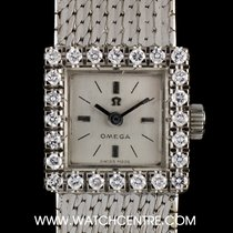 Omega 18k White Gold Silver Dial Diamond Set Ladies Vintage Watch