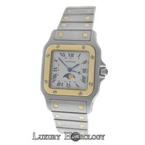Cartier Unisex  Santos Galbee 119901 Moonphase Quartz 18K Gold...