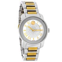 Movado Bold Crystal Ladies 2Tone Bracelet Swiss Quartz Watch...