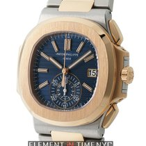 Patek Philippe Nautilus Chronograph Steel & Rose Gold Blue...