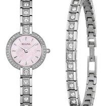 Bulova Ladies Crystal Watch & Bracelet Set - Pink Mother...