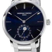 Frederique Constant Slimline Moonphase Steel Mens Watch Blue...
