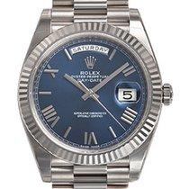 Rolex Day-date President 40mm 228239 Mens 18k White Gold Blue...
