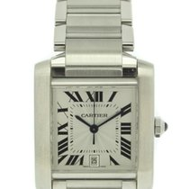 Cartier Tank Francaise Guilloche Dial Stainless Steel W51002Q3