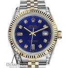 Rolex Men's Rolex 36mm Datejust 2 Tone Blue Color Dial...