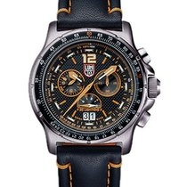 Luminox Mens F-35 Lightning II Chrono - Black and Orange Dial...
