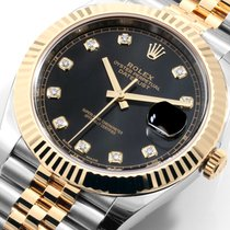Rolex 41mm TT Datejust Factory Black Diamond Dial 126333 Unworn