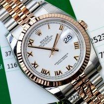 Rolex Datejust White Roman Dial Fluted 18kt Rose Gold Bezel...
