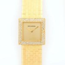 Boucheron France Yellow Gold Pave Diamond Square Bracelet Watch