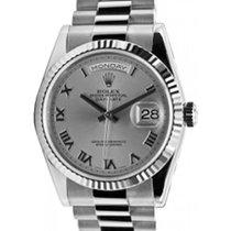 Rolex Day-Date 36 118239-RHDRFP Rhodium Roman Fluted White...