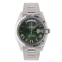 Rolex DAY-DATE 40 White Gold President 60th Anniversary Green...