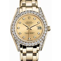 Rolex Pearlmaster 34 81158 Champagne Diamond Set Yellow Gold