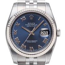 Rolex Datejust 36 mm Edelstahl / Weißgold 116234 Blau Römisch