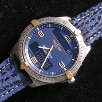 Breitling Aerospace Titan Gold F56062 Lederband Blaues Zb...