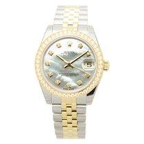 Rolex Lady Datejust Gold Steel Diamond Silver Automatic...