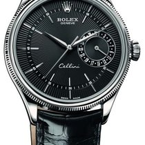 Rolex Cellini Date 39mm 18k White Gold 50519 Black