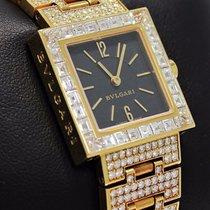 Bulgari Quadrato Sq22 18k Yellow Gold Factory Baguette Diamond...