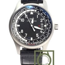 IWC Pilot Worldtimer 45mm Black Dial Crocodile Strap NEW