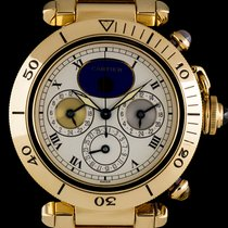 Cartier 18k Yellow Gold Three Time Zone Pasha Gents W3001851