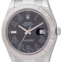Rolex - Datejust II : 116334 black dial on heavy Oyster...