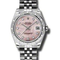 Rolex Datejust 31 Pink Mother of Pearl Diamond Dial Stainless...