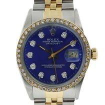 Rolex Datejust 16013 Blue Diamond Dial/Bezel Two Tone Jubilee...