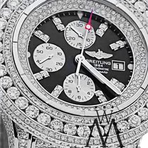 Breitling Super Avenger Black A13370 30 Ct Diamond Authentic...