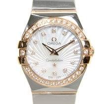 Omega Constellation 18k Rose Magic Diamond White Quartz...