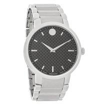 Movado Gravity Mens Black Carbon Dial Swiss Quartz Watch 0606838