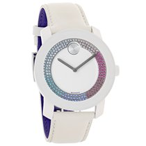 Movado Bold Ladies Multi-Crystal White Leather Strap Swiss...