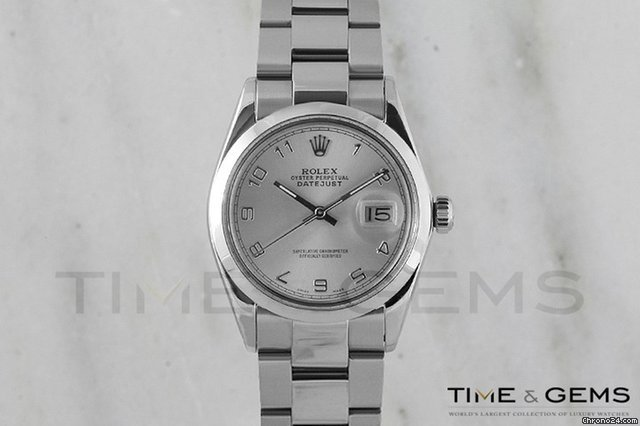Rolex Stainless Steel Silver Arabic Dial Smooth Bezel Oyster Band Datejust
