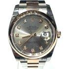 Rolex Datejust Steel Rose Gold Grey Diamond Dial 36mm