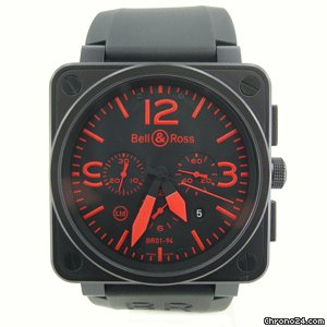 Bell &amp;amp; Ross AViATiON CHRONOGRAPH LiMiTED EDiTiON RED DiAL BR01-94