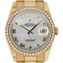 Rolex DAY-DATE 36 President 18K Yellow Gold Diamond Bezel MOP...