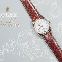 Rolex Cellini Danaos 18k White/Rose Gold w/ Leather Band
