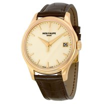 Patek Philippe Calatrava Mechanical Ivory Dial Leather Mens...