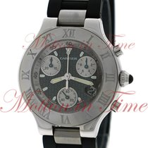 Cartier Must 21 Chronoscaph, Black Double C Motif Dial -...